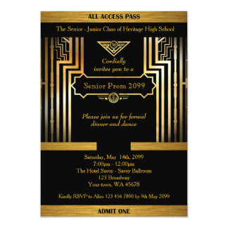 Prom senior, Gatsby style, black & gold, back gold Card