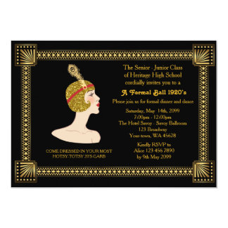 Prom senior, Gatsby style, black & gold, monogram Card