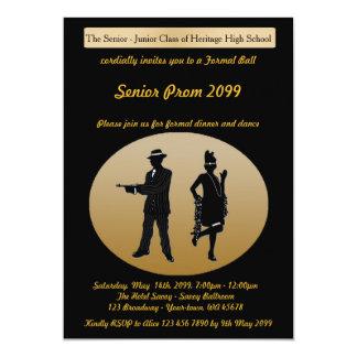 Prom senior, Gatsby style, black & gold, text back Card