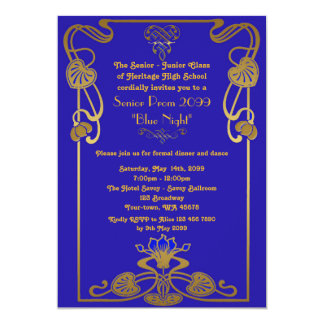 Prom senior, Gatsby style, blue & gold, monogram Card