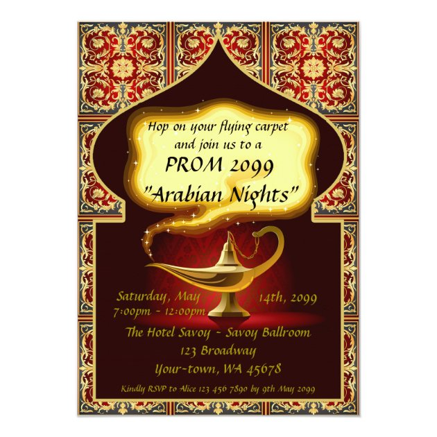 Personalized junior senior prom invitations custominvitations4u prom senior junior arabian style red gold card stopboris Image collections