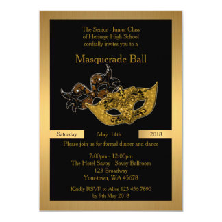 Prom Senior-Junior, black, masquerade ball mask Card