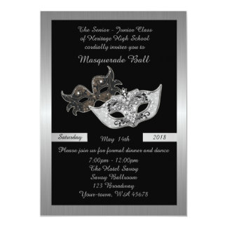Prom Senior-Junior, black, masquerade mask Card
