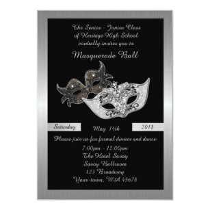 Prom Senior Junior Black Masquerade Mask Invitation