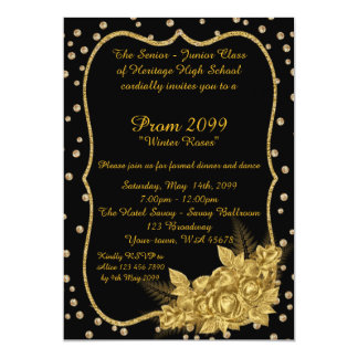 Prom Senior-Junior, confetti, 1920s black gold Card