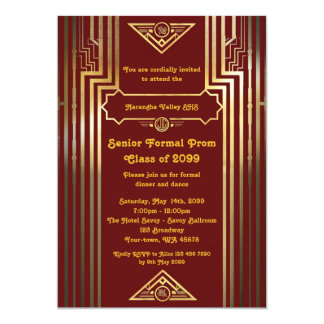 Prom senior junior, Gatsby style, art-deco,elegant Card
