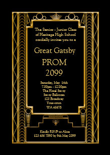 Prom Senior Junior Great Gatsby Gold Black Invitation