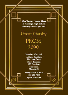 Prom Senior Junior Great Gatsby Gold Brown Invitation