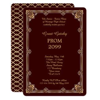 Prom Senior-Junior, Great Gatsby, Gold, Burgundy Card