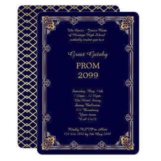 Prom Senior-Junior, Great Gatsby, Gold, Navy Card