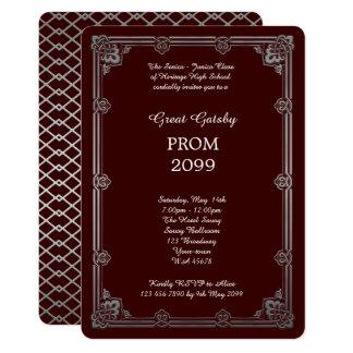 Prom Senior-Junior, Great Gatsby, Silver, Burgundy Card