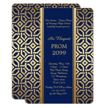 Aztec Themed Prom Senior-Junior, Navy Gold Geometric Card