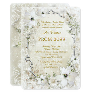 Prom Winter Senior-Junior, white Gold, silver Card