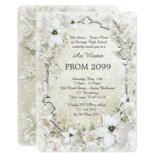 Prom Winter Senior-Junior, white, silver,chic Card