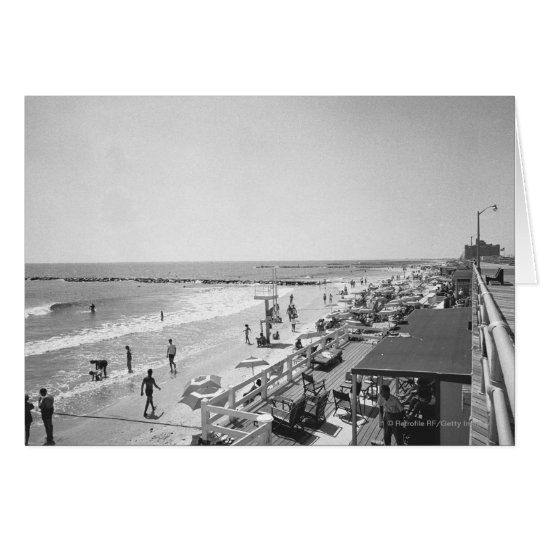 Promenade and beach B&W elevated view Card