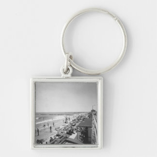 Promenade and beach B&W elevated view Keychain