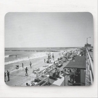 Promenade and beach B&W elevated view Mouse Pad
