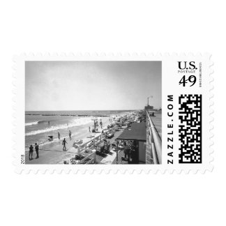 Promenade and beach B&W elevated view Postage