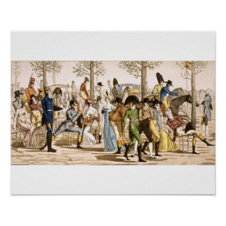 Promenade at Longchamps, 1802 (engraving) Poster