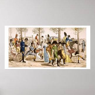 Promenade at Longchamps, 1802 (engraving) Print