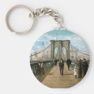 """""""promenade"""" del puente de Brooklyn, New York City Llavero Redondo Tipo Pin"""