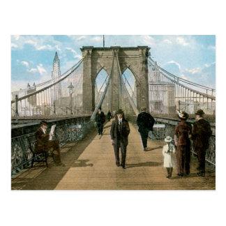 """""""promenade"""" del puente de Brooklyn, New York City Postales"""