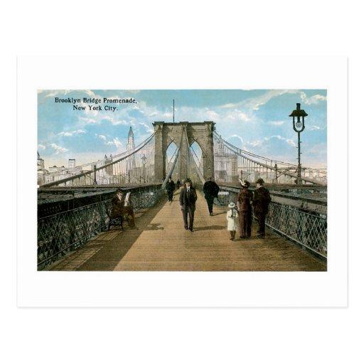 """""""promenade"""" del puente de Brooklyn Tarjetas Postales"""