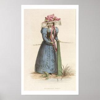 Promenade Dress, fashion plate from Ackermann's Re Poster