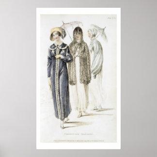 Promenade dresses, fashion plate from Ackermann's Poster