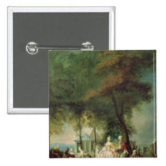 """promenade"" en Longchamp, c.1760 Pin Cuadrada 5 Cm"