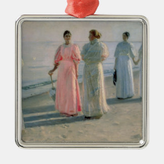 Promenade on the Beach Metal Ornament