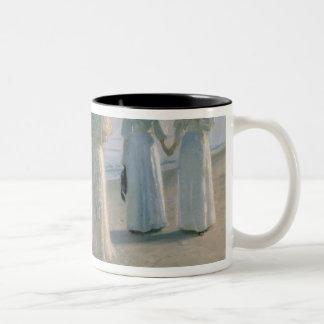 Promenade on the Beach Two-Tone Coffee Mug
