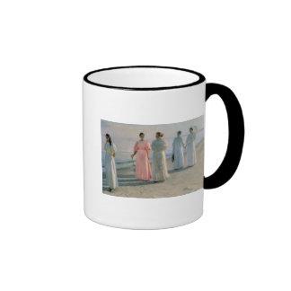 Promenade on the Beach Ringer Coffee Mug