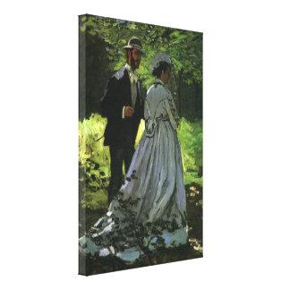 Promenaders by Claude Monet, Vintage Impressionism Canvas Print