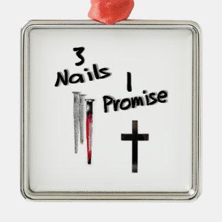 Promesa 3 Nails-1 Adorno Navideño Cuadrado De Metal