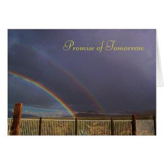Promesa del arco iris del doble de la mañana tarjetón