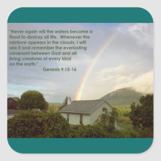 Promesa del arco iris pegatina cuadrada