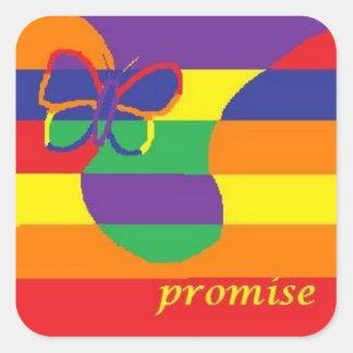 promesa pegatina cuadrada