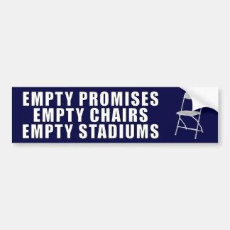 Promesas vacías - sillas - estadios - Obama anti Pegatina Para Auto