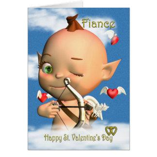 Prometido feliz de la tarjeta del el día de San Va