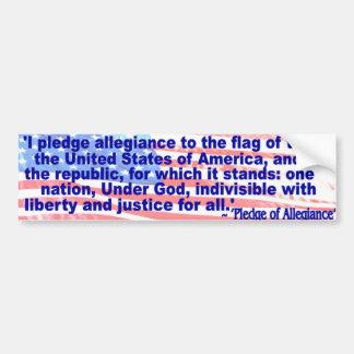 Prometo lealtad a la bandera pegatina de parachoque