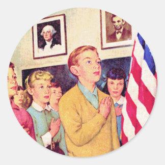 Prometo lealtad a la bandera pegatina redonda