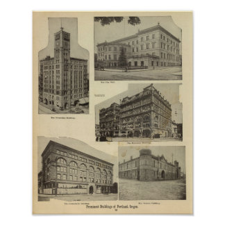Prominent bldgs, Portland, Oregon Poster