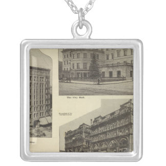 Prominent bldgs, Portland, Oregon Silver Plated Necklace