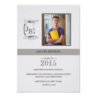 "Prominent Initials Photo Graduation Announcement 5"" X 7"" Invitation Card"