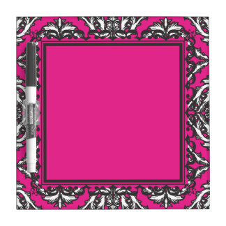 Prominent Pink Damask Pink, Black White Dry-Erase Boards