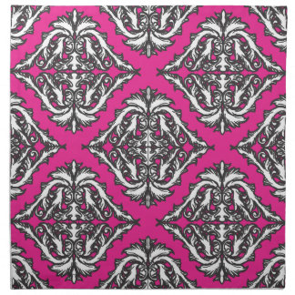 Prominent Pink Damask Pink, Black White Printed Napkins