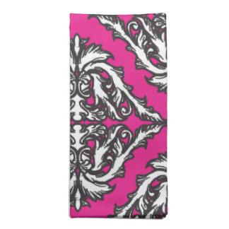 Prominent Pink Damask Pink, Black White Printed Napkin