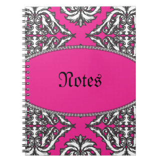 Prominent Pink Damask Pink, Black White Notebook