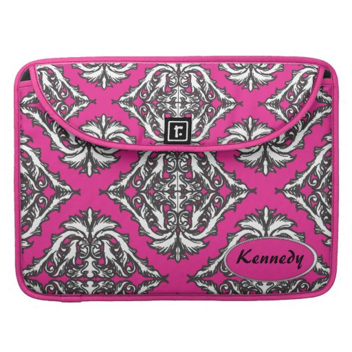 Prominent Pink Damask Pink, Black White Sleeve For MacBooks